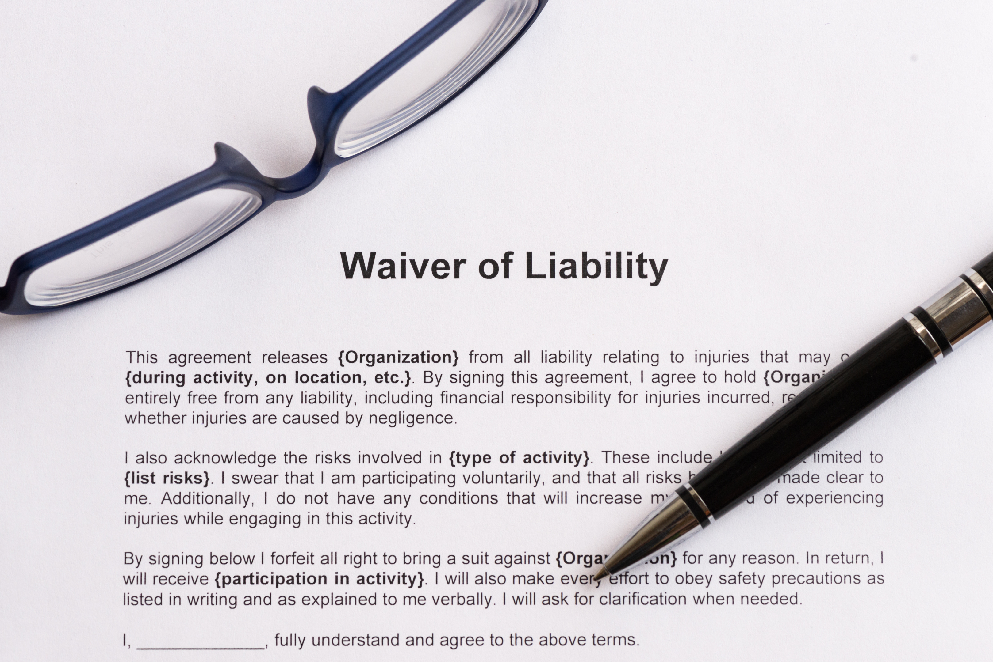 Liability Waiver – Waiver of Liability Form Free